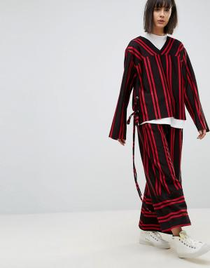 House of Sunny Комбинируемые брюки в полоску с широкими штанинами. Цвет: черный