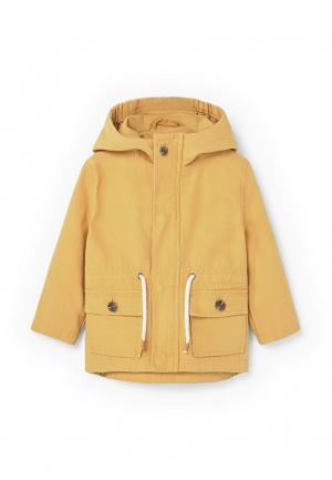 Куртка Mango Kids. Цвет: желтый