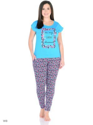Комплект домашней одежды ( футболка, брюки) HomeLike. Цвет: голубой