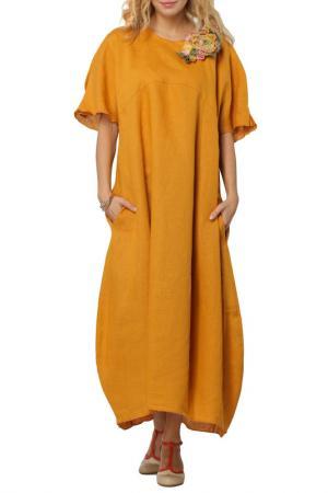Платье-макси свободного покроя Kata Binska. Цвет: охра