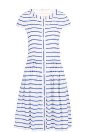 Хлопковое мини-платье в контрастную полоску Alice + Olivia. Цвет: разноцветный