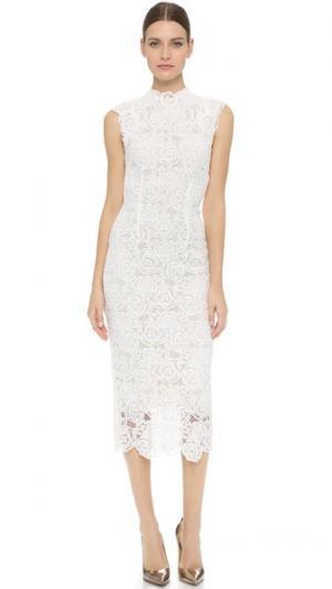 Платье с высоким вырезом Monique Lhuillier. Цвет: белый шелк/телесный