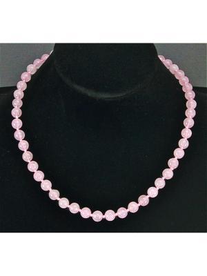 Бусы Классика №8 розовый кварц Колечки. Цвет: розовый