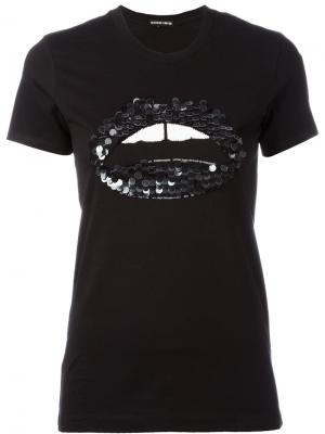 Sequin embellished lip T-shirt Markus Lupfer. Цвет: чёрный