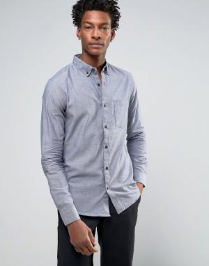 Troy Оксфордская узкая рубашка с карманом. Цвет: темно-синий