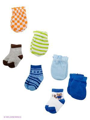 Комплект Антицарапки и носочки Luvable Friends. Цвет: голубой, белый, синий
