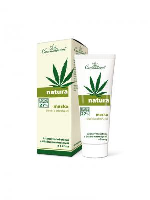 Кремовоя маска Natura  для очищения и лечения кожи 75 г. Cannaderm. Цвет: белый, зеленый