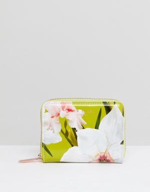 Ted Baker Маленький кошелек на молнии с цветочным принтом. Цвет: зеленый