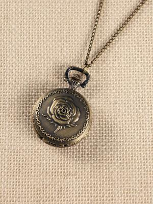 Кулон-часы Медальон с розой (большой) Mitya Veselkov. Цвет: бронзовый