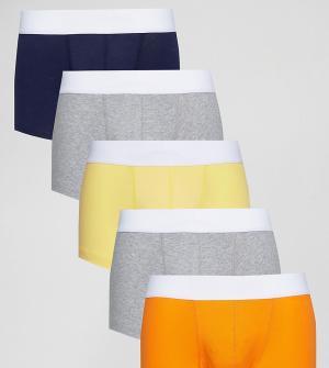 ASOS Набор из 5 пар трусов-хипстеров (желтые/ оранжевые). Цвет: мульти