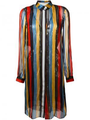 Платье-рубашка в полоску Marco De Vincenzo. Цвет: многоцветный