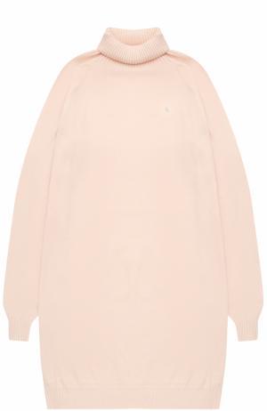 Трикотажное мини-платье с высоким воротником Kuxo Cashmere. Цвет: светло-розовый