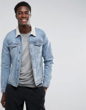 Just Junkies Джинсовая куртка с подкладкой из искусственного меха. Цвет: синий