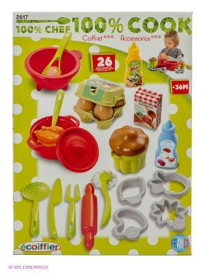 Набор посудки с продуктами Ecoiffier. Цвет: желтый, зеленый, красный