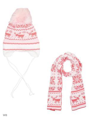 Шапка + шарф MIKIVIKI. Цвет: бледно-розовый, белый