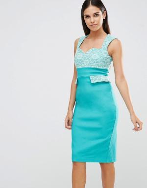 Vesper Платье-футляр с кружевным верхом и карманами. Цвет: зеленый