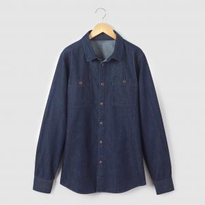 Рубашка из денима, 10-16 лет R essentiel. Цвет: синий потертый,темно-синий