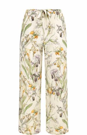Укороченные шелковые брюки с принтом Alexander McQueen. Цвет: разноцветный