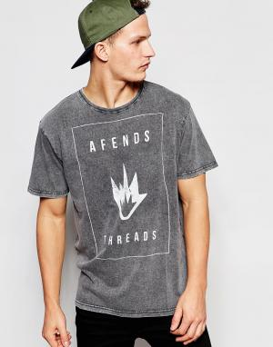 Afends Выбеленная футболка. Цвет: черный