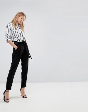Y.A.S Бархатные брюки с поясом-завязкой. Цвет: черный
