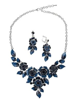 Колье, серьги Olere. Цвет: серебристый, голубой, синий