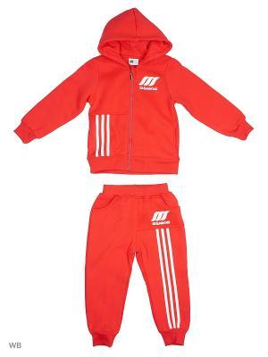 Толстовка с капюшоном и брюки Sago Kids i Ant Domain. Цвет: красный