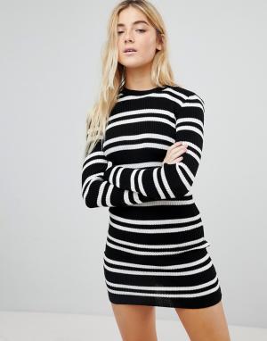 Daisy Street Платье-джемпер в полоску. Цвет: черный