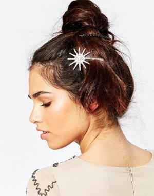 Neve & Eve Набор заколок для волос со стразами. Цвет: серебряный