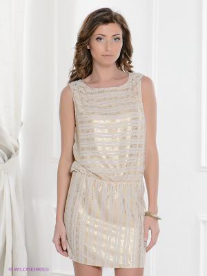 Платье Top Secret. Цвет: светло-бежевый, золотистый