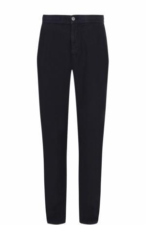 Льняные брюки прямого кроя Z Zegna. Цвет: темно-синий