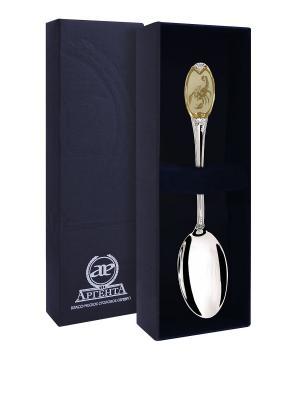 Ложка чайная частично позолоченная с логотипом Скорпион+футляр АргентА. Цвет: золотистый, серебристый