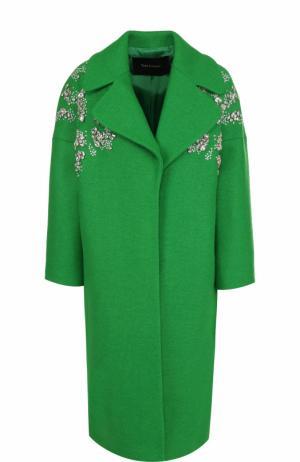 Шерстяное пальто с укороченным рукавом и декоративной отделкой Tara Jarmon. Цвет: зеленый