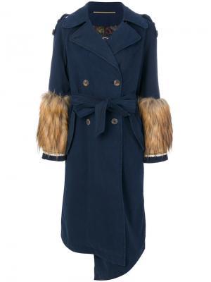 Пальто-тренч с отделкой мехом Bazar Deluxe. Цвет: чёрный