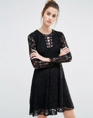 SPORTMAX CODE Кружевное свободное платье Oronte. Цвет: черный