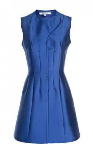 Приталенное мини-платье с декоративной отделкой Carven. Цвет: синий