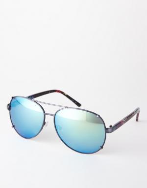 Солнцезащитные очки-авиаторы с зеркальными линзами Trip. Цвет: черный зеркальный