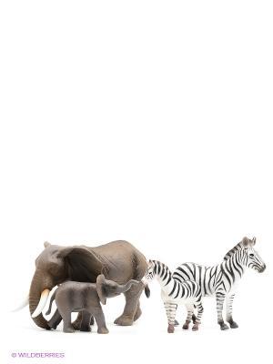 Набор фигурок Animal Planet MOJO. Цвет: серо-коричневый, белый, черный