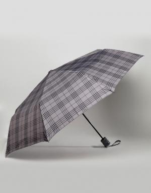 Peter Werth Серый зонт в клетку. Цвет: серый