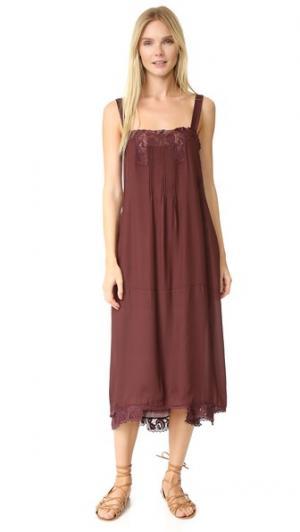 Платье-комбинация с защипами THE GREAT.. Цвет: винный