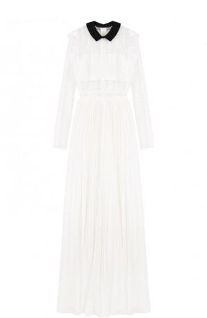 Платье-макси с плиссированной юбкой и кружевным лифом self-portrait. Цвет: белый