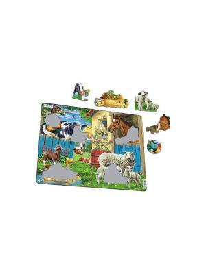 Пазл Животные фермы LARSEN AS. Цвет: белый, синий, зеленый, голубой, оранжевый, желтый