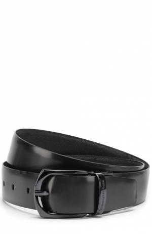 Кожаный ремень с металлической пряжкой Ermenegildo Zegna. Цвет: темно-синий