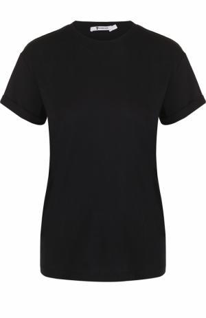 Хлопковая футболка прямого кроя с круглым вырезом T by Alexander Wang. Цвет: черный
