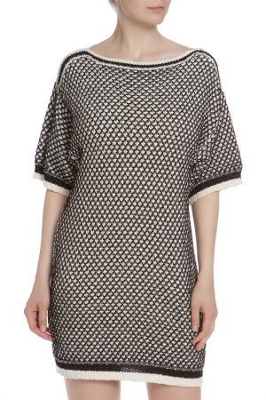 Свободное платье горловиной Лодочка ELISABETTA FRANCHI. Цвет: двухцветный