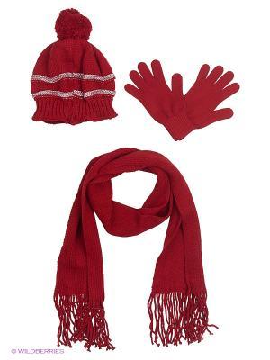 Шапка;  шарф; перчатки Krife. Цвет: бордовый, розовый