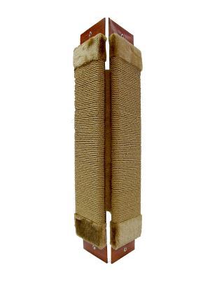 Когтеточка Неженка большая джутовая угловая, 68*30 см с кошачьей мятой. Цвет: коричневый