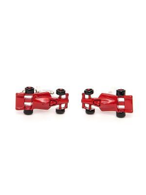 Запонки красная машинка формула 1 Churchill accessories. Цвет: серебристый