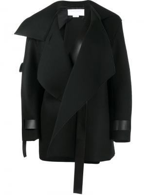 Пальто с кожаными ремешками Esteban Cortazar. Цвет: чёрный