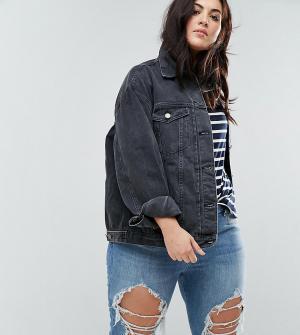 ASOS Curve Черная выбеленная джинсовая куртка. Цвет: черный