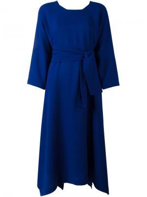 Платье макси с квадратным вырезом Daniela Gregis. Цвет: синий